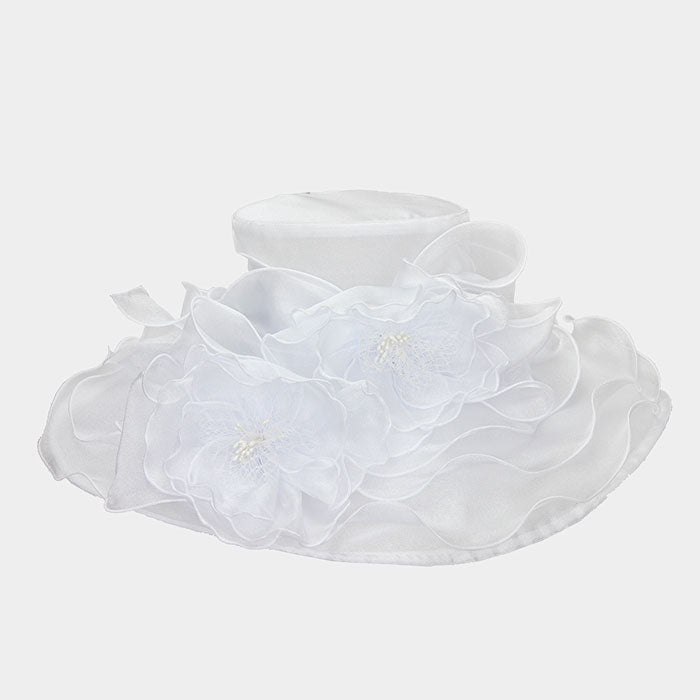 Beautiful White Rose Large Brim Hat