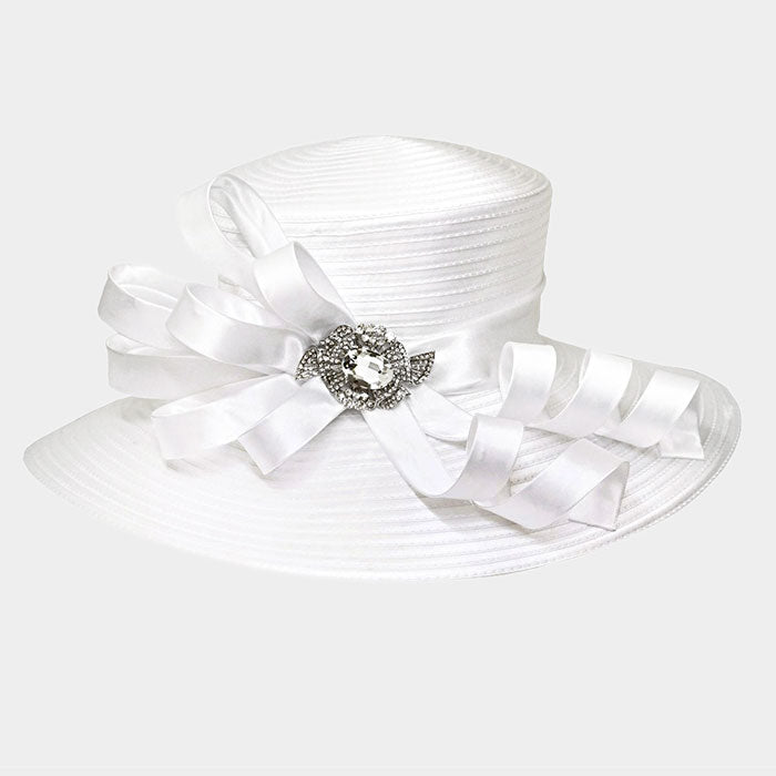 Beautiful Large Satin Braid Hat with Stoned Bow
