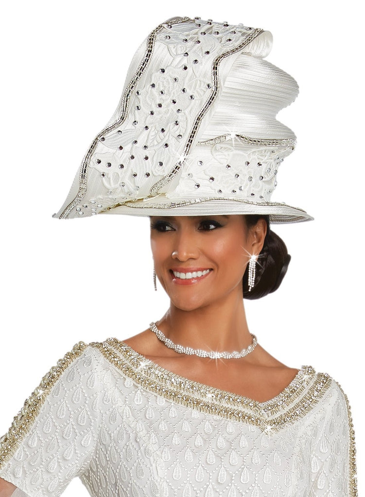 Beautiful White with Rhinestone Couture Designer Hat, New for 2019