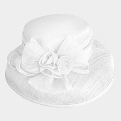"Beautiful White Rose Bow Sinamay Hat ""High End"""
