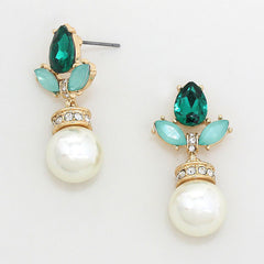 Emerald and Faux Pearl Drop Earrings