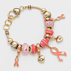 """Pink Ribbon"" Heart Charm Bracelet  (5% of sales go to Susan G. Korman Breast Cancer Foundation)"