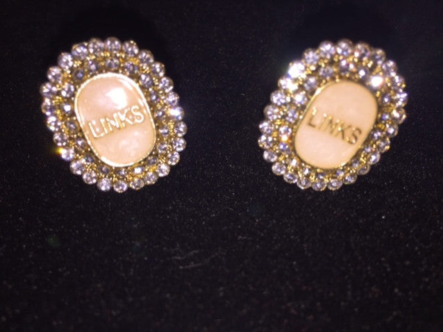 "LINKS Mother of Pearl Crystal Logo Earrings ""High End"""