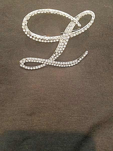 "Beautiful Austrian Crystals Exquisite Austrian ""L"" Links Monogram Brooch Pin (NEW)"