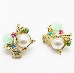 White and Green Rose Earrings