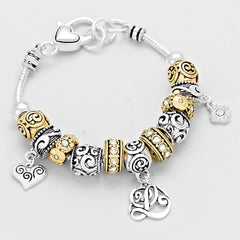 """L"" CRYSTAL HEART FILIGREE BEADED Charm BRACELET"