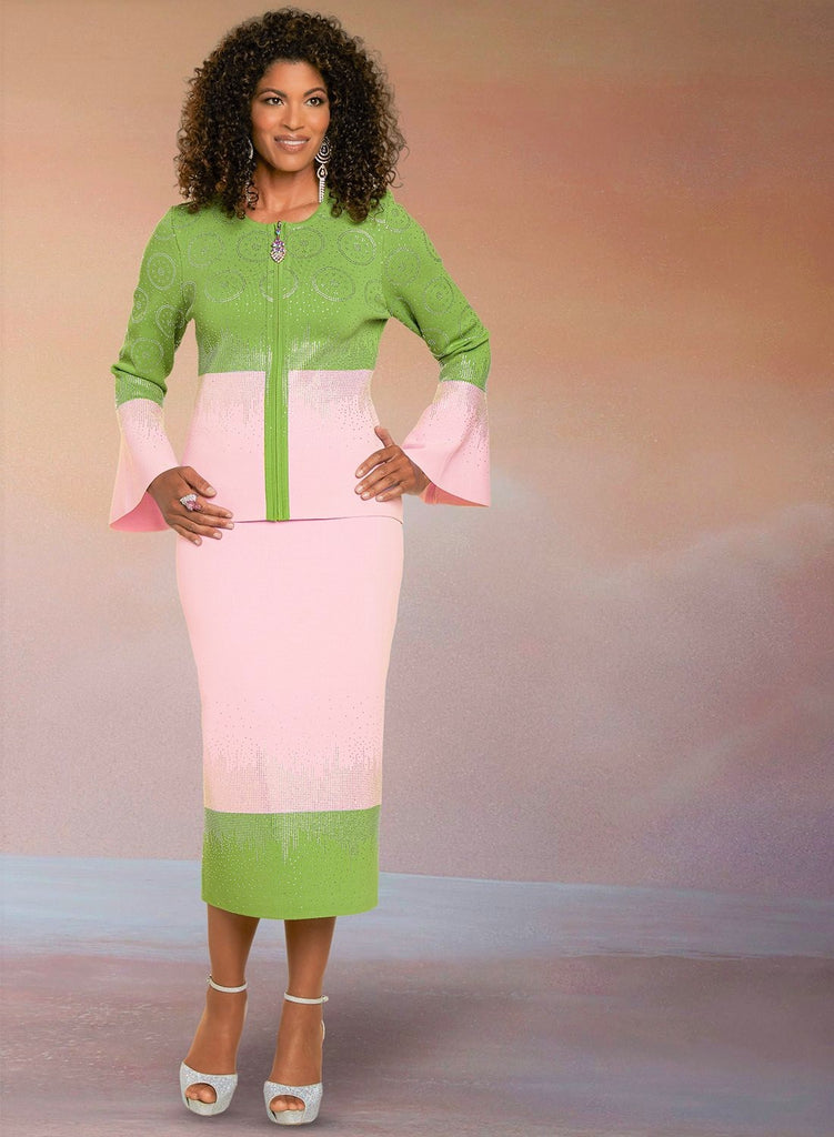Beautiful Pink & Green Knit Metallic Suit of Distinction, NEW, Winter 2021