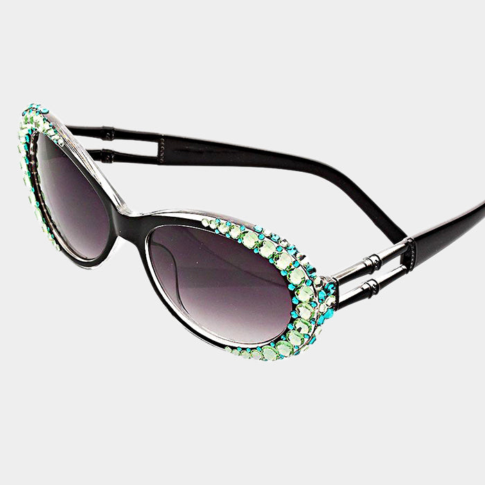 Beautiful Green & Blue Crystal Oval Sunglasses (NEW)