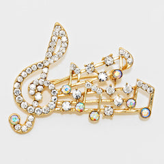 Beautiful ARTS FACET Crystal Pave Treble Clef Brooch