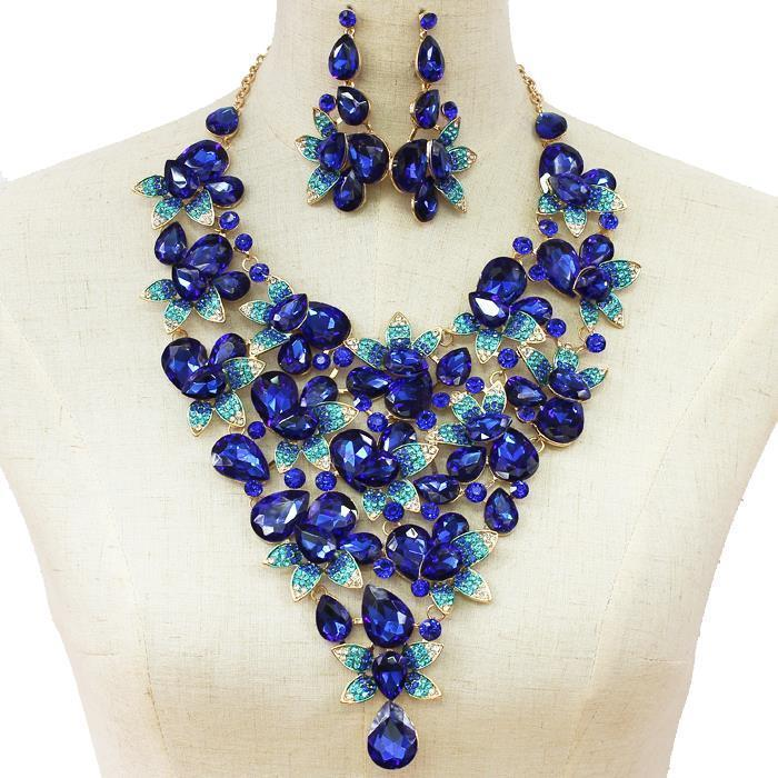 Beautiful Blue Crystal Teardrop Necklace