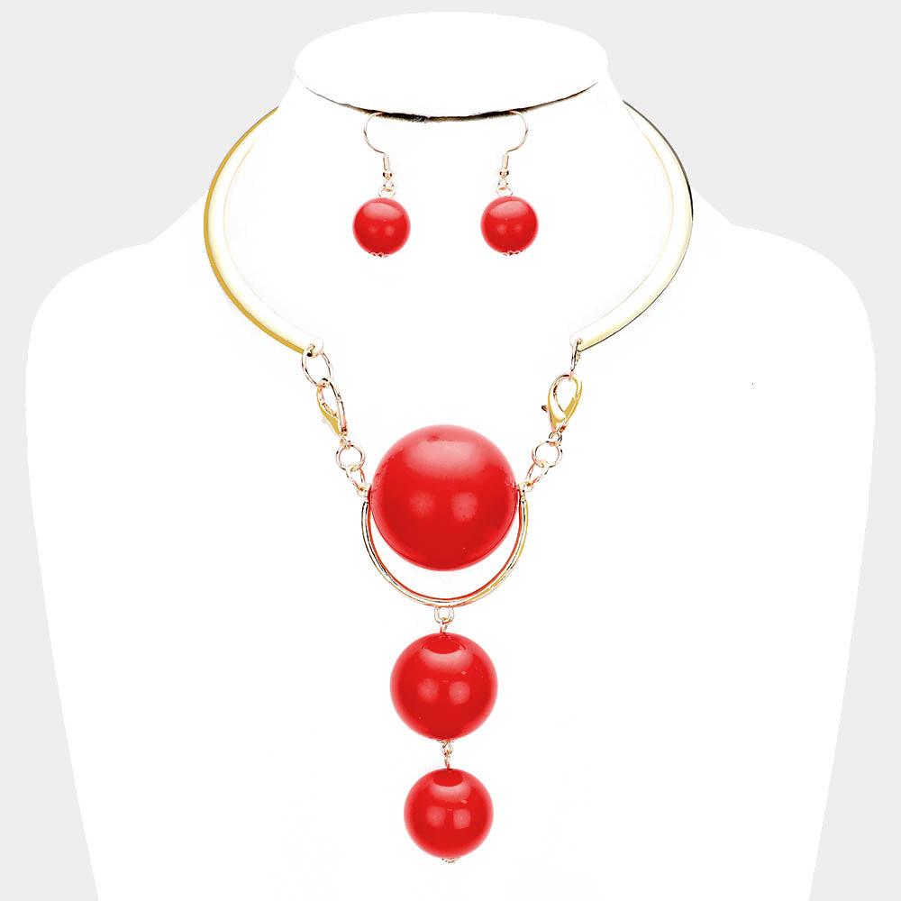 Beautiful Green or RED or Pink Ball Designer Necklace (NEW)