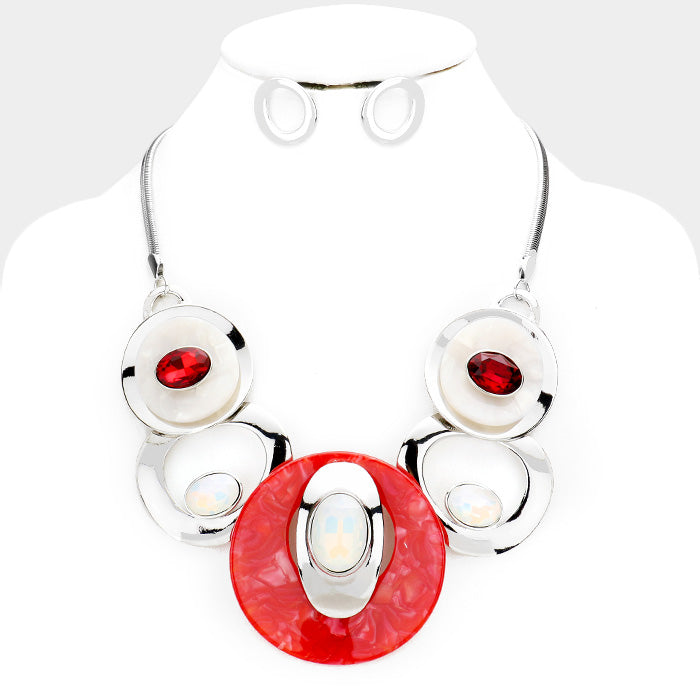 Beautiful Red & White & Red Stone Metal Statement Necklace (NEW)