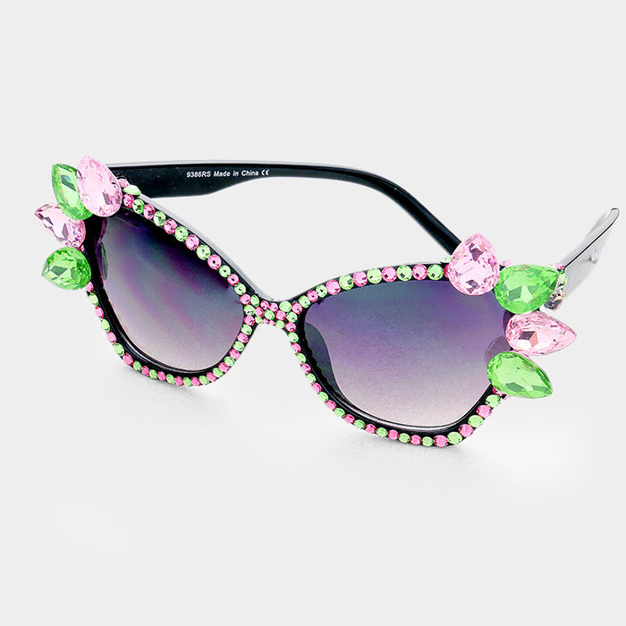 Beautiful Crystal AKA Teardrop Embellished Cat Eyes Sunglasses (NEW-HIGH END)