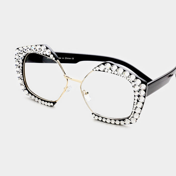 Beautiful Crystal Embellished Detail Pentagon Clear Lens Sunglasses