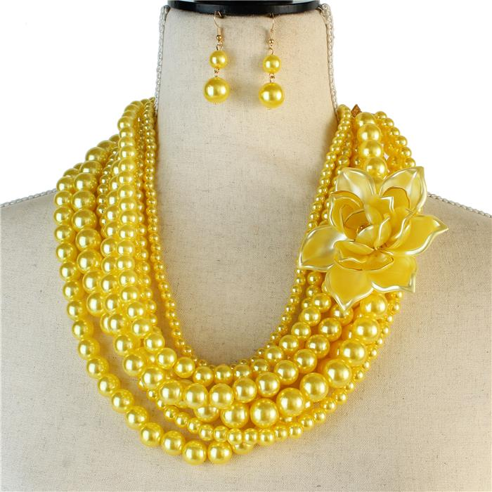 Beautiful CARATS Yellow Rose Pearl Necklace Set