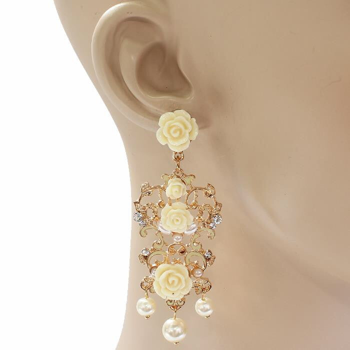 Elegant White Rose Earrings