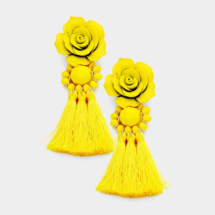 Beautiful White Rose Tassel Earrings (NEW)