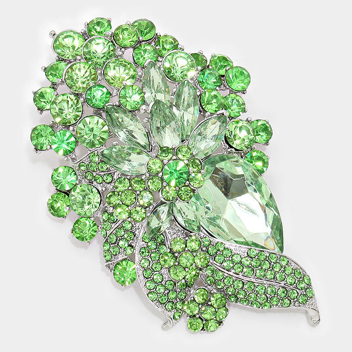 Beautiful Green Crystal Bouquet Brooch/Pendant