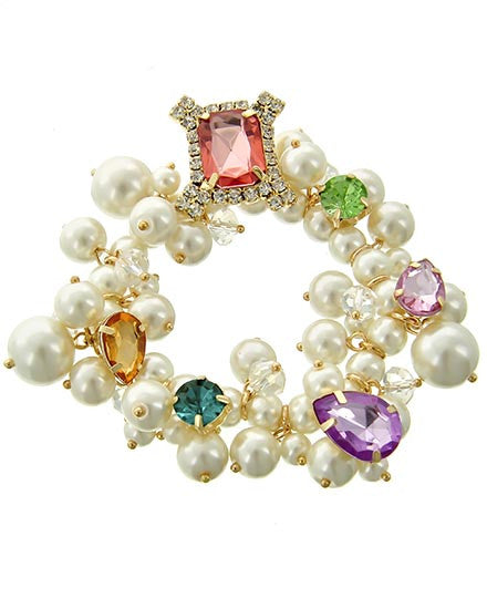 MultiColor Crystal Pearl Necklace Set