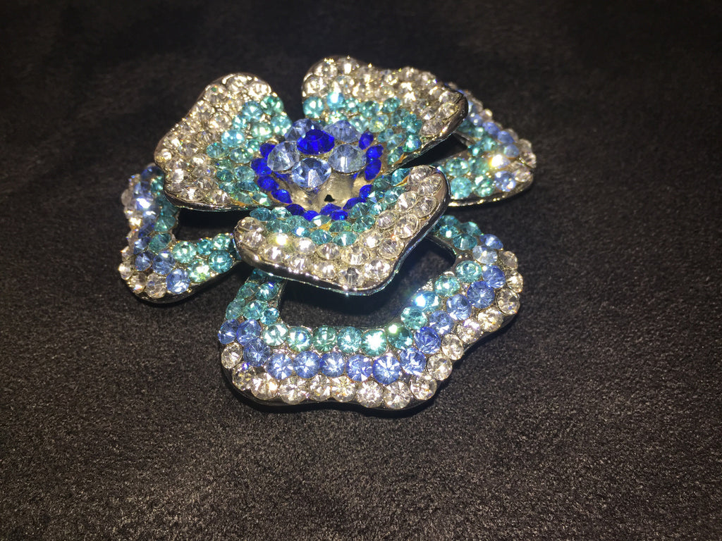 Swarovski Crystal Pink or Blue Rose Brooch