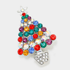 Christmas MultiColor Crystal Brooch
