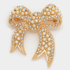 Our Elegant Crystal Pearl Bow Brooch