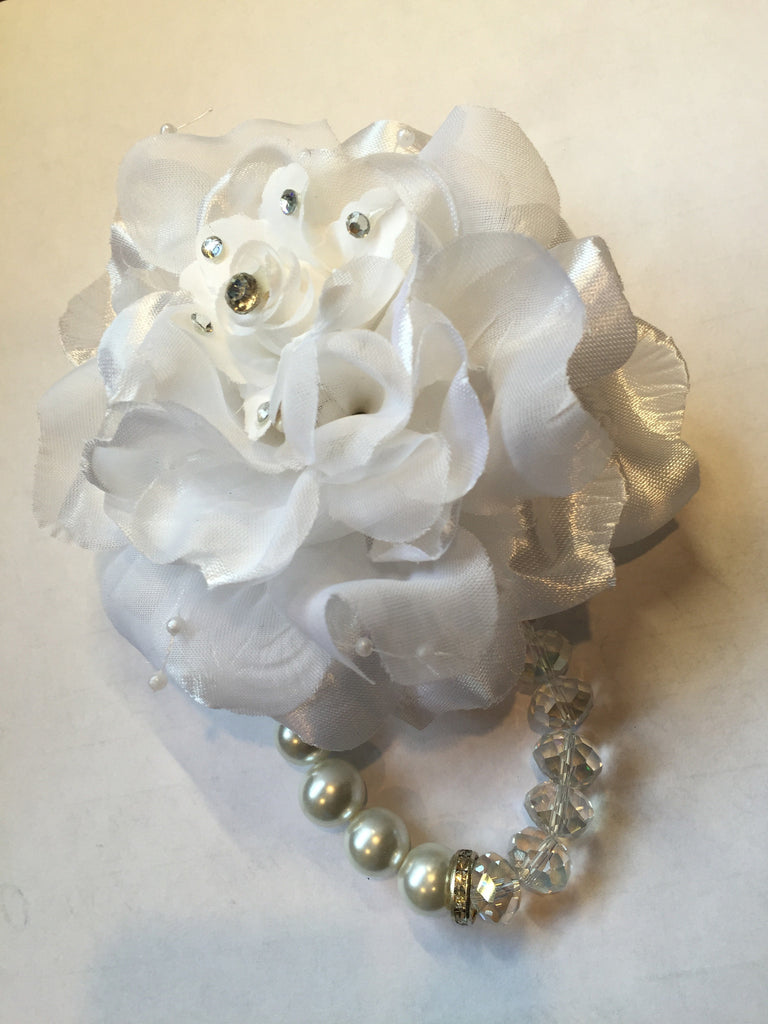 White Rose Bracelet Corsage with Rhinestones