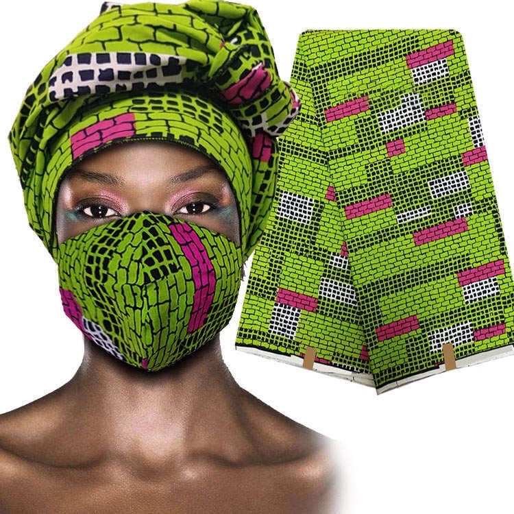Beautiful African Pink and Green Ankara Mask & Wrap (New IN STOCK)