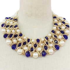CARATS Pearl & Blue Crystal Necklace Set (High End)