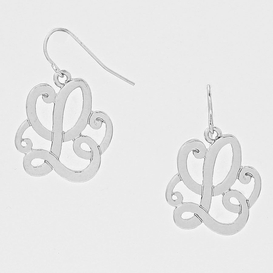 "Beautiful ""L"" Earrings (Antique Silver)"