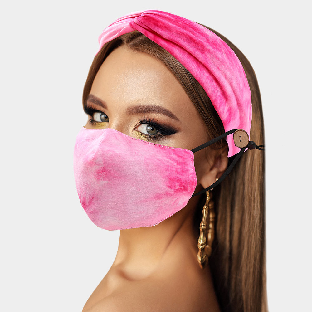 Beautiful Pink Mask Fashion Headband Set, New