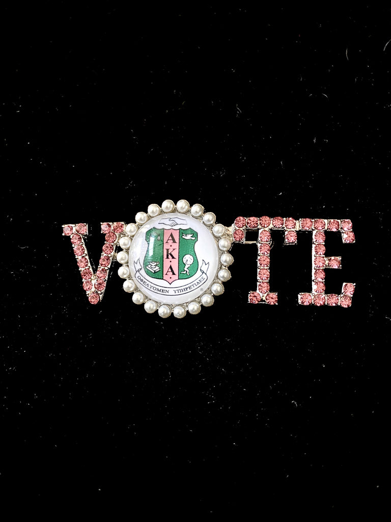 Beautiful AKA Crystal Pearls Pink and Green VOTE Pin