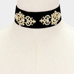 Beautiful Velvet with Crystal Choker Necklace