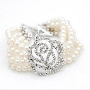 Beautiful Pearl and Crystal Rose Bracelet