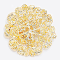 Austrian Crystal Gold Rose Brooch