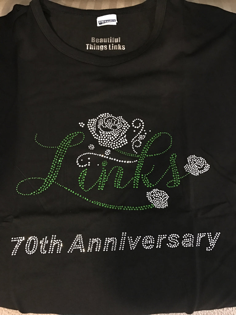 "LINKS ""Rose Buds"" Rhinestone Tee (NEW-High End) (70th Anniversary Design Only Available)"