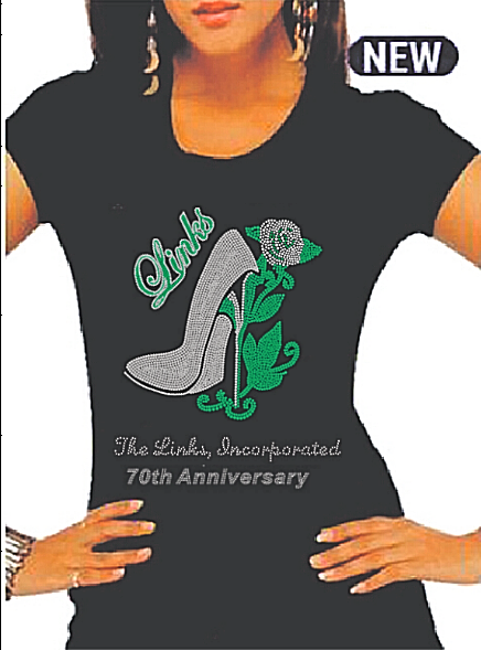 "Beautiful LINKS Rose ""High Heel"" Rhinestone T-Shirt (70th Anniversary Style Only- CLEARANCE"