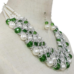 "Beautiful Pearl and Emerald Bib Necklace ""High End"""