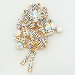Crystal Rose Flower Bouquet Brooch