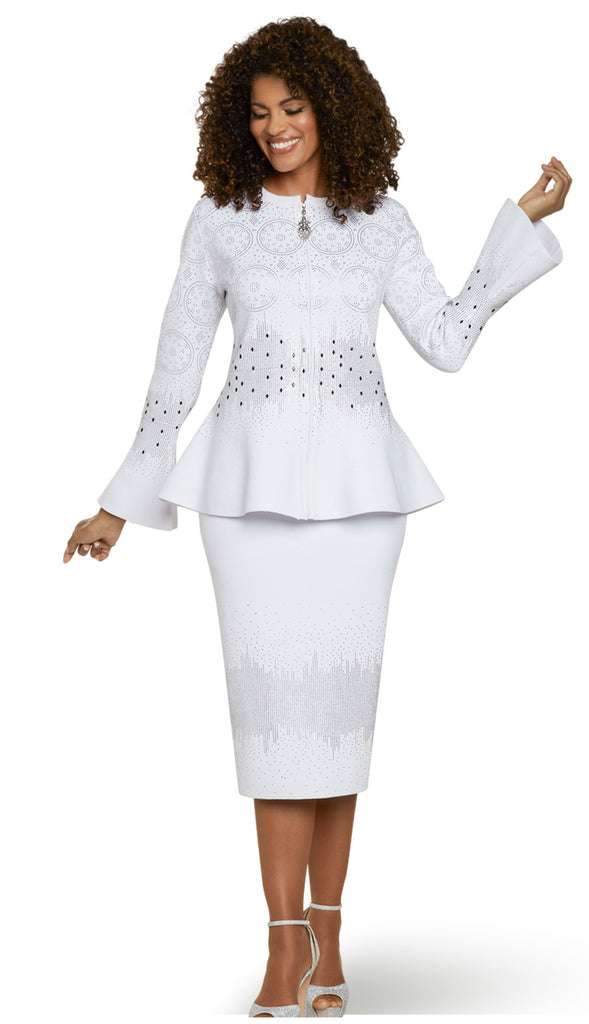 Beautiful Bright White Knit Rhinestone Suit (New, 2020)