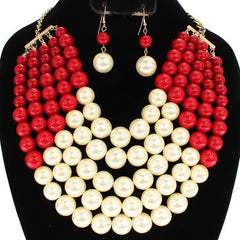 Statement Faux Pearl Necklace (Set)