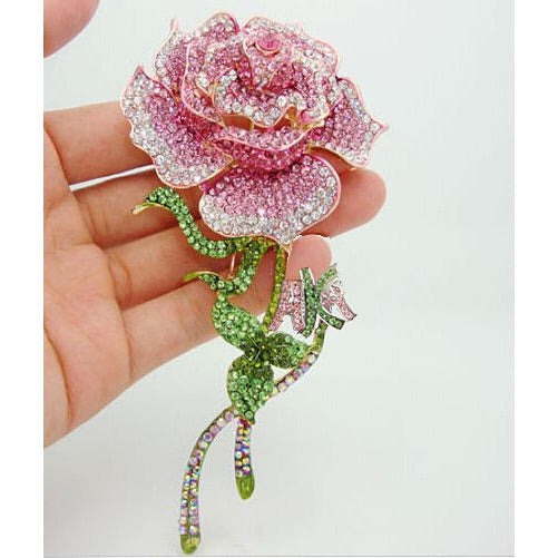 "Beautiful and Amazing"" Rose Brooch Pin with Swarovski Crystals"