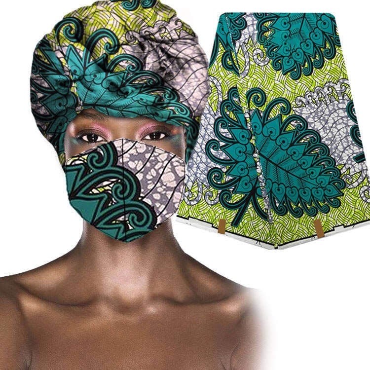 Beautiful African Ankara LINKS Emerald Mask & Wrap (New, IN-STOCK)