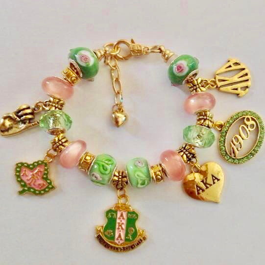 "Beautiful AKA Pink & Green 1908 Custom ""Pandora Style"" Bracelet"