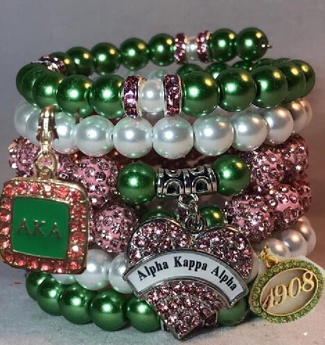 Beautiful AKA Pink and Green Stacked Bracelet