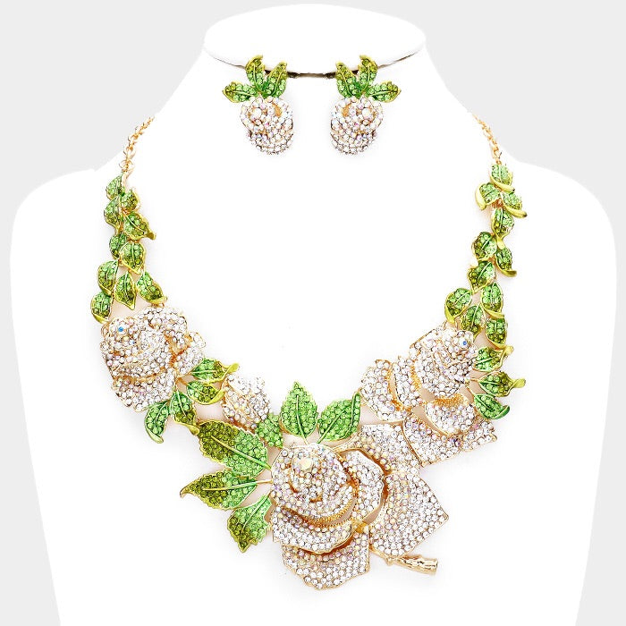 Beautiful Swarovski Golden Crystal Rose Necklace Set (High End)