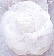 White Rose Silk Corsage Brooch