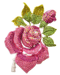 Beautiful Crystal Pink & Green Swarovski Rose Brooch