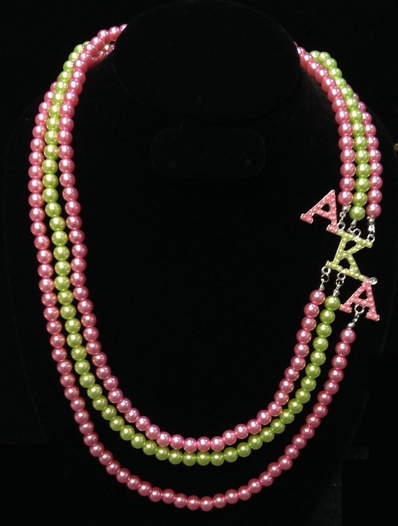 Beautiful AKA Pink & Green Pearl Necklace
