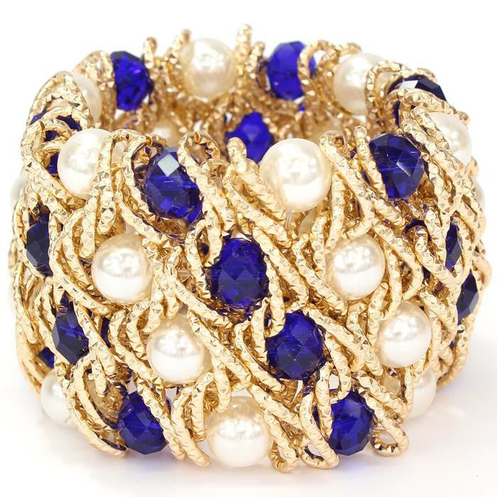 CARAT Pearl and Blue Crystal Bracelet